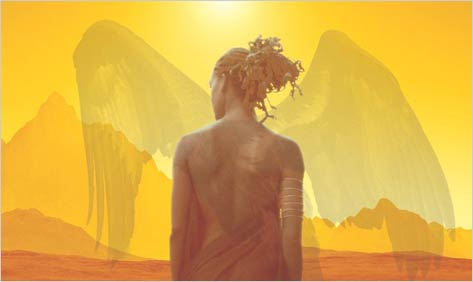 "Segment of the cover of ""Who Fears Death"" by Nnedi Okorafor.  Black woman facing away from viewer, with shadowy wings.  Desert landscape."
