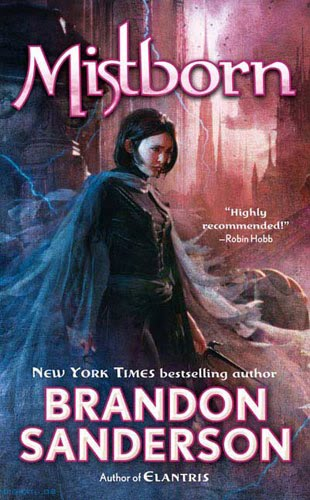 "cover of brandon sanderson's novel ""mistborn.""  woman in cape stands in profile."